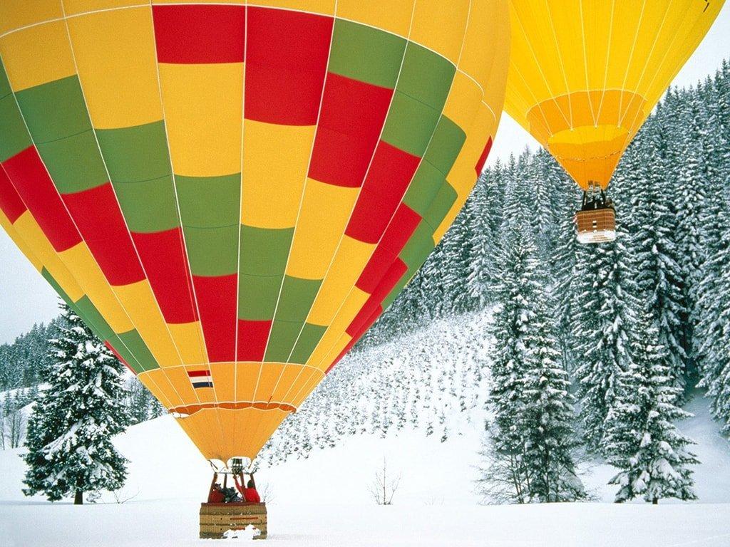 Полет на воздушном шаре в Москве зимой